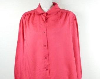 552bb515b21e89 50% SUMMER SALE Vintage 90s Rhapsody Hot Pink Fuchsia Button Down Collared  Long Sleeve Puff Shoulder Blouse Shirt Top Sz XL Plus Size