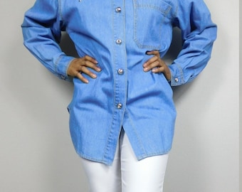 749d2d31 50% SUMMER SALE Vintage 1990s 90s Blue Jean Embroidered Diamond Gold Silver  Button Down Long Sleeve Shirt Top Blouse Sz 12 Large