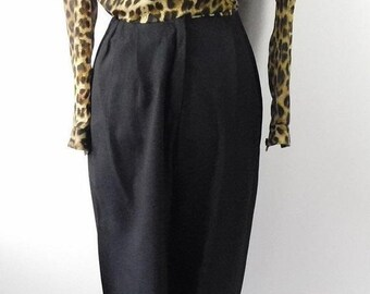 574960d33e24 45% OFF SPRING SALE Vintage Petite Sophisticate Black Brown Cheetah Print  Long Sleeve Collared Chiffon V Neck Jumpsuit Playsuit Sz 8 Medium