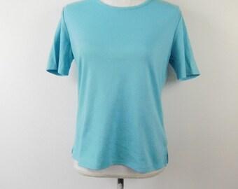 51153ad0b9a 50% SUMMER SALE Vintage 1980s Drapers   Damons Light Blue Minimal Classic  Short Sleeve Crewneck Shirt Top Tee Blouse Sz Small Petite