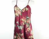 60 BIG XMAS SALE Vintage Romance Du Jour Burgundy Silky Floral Flower Print Spaghetti Strap Tank Cami Knee Length Lingerie Dress Medium