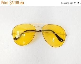 abb51755bef 40% OFF SHOP SALE Vintage 1970s 70s Classic Standard Yellow Gold  Transparent Fashion Big Aviator Sunglasses Frame Lens Glasses Eyewear