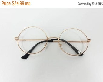 535eb59e5 50% SUMMER SALE Vintage Big Round Spectacle Gold Clear Classic Standard  Transparent Fashion Sunglasses Frame Lens Glasses Frame
