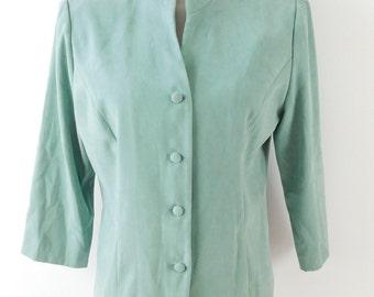 5e92c92f9e5 50% SUMMER SALE Vintage 1990s Jessica Howard Light Green Faux Suede Button  Down Tie Back Suit Blazer Shirt Jacket Sz 12 Large Petite