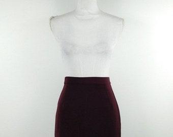 087bb82e28 45% OFF SPRING SALE Vintage 1980s 80s Solid Dark Purple High Elastic Waist  Secretary Minimal Pencil Short Mini Skirt Bottom Sz Medium