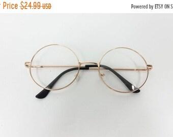be8377904ab 40% OFF SHOP SALE Vintage Big Round Spectacle Gold Clear Classic Standard  Transparent Fashion Sunglasses Frame Lens Glasses Frame