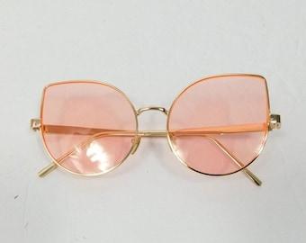 317906e7f8 30% OFF TURKEY SALE Vintage Retro Neon Pink Cat Eye Classic Standard  Fashion Oversized Sunglasses Gold Metal Frame Lens Glasses Eyewear