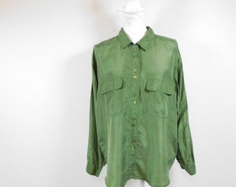 50/% SUMMER SALE Vintage Christopher Banks Ivory Green Orange Floral Flower Print Collared Long Sleeve Button Down Shirt Top Blouse Medium