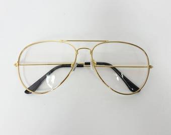 0681666803872 50% SUMMER SALE Vintage Classic Standard Transparent Fashion Classic Big  Round Aviator Sunglasses Frame Gold Clear Lens Glasses Frame