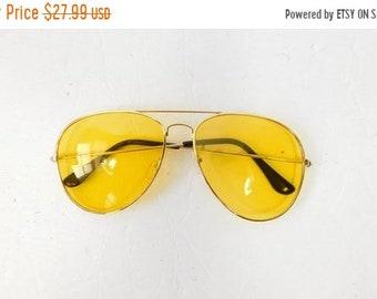 22bef833001 30% OFF HOLIDAY SALE Vintage 1970s 70s Classic Standard Yellow Gold  Transparent Fashion Big Aviator Sunglasses Frame Lens Glasses Eyewear