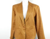 Vintage 1990s Carol Horn Camel Linen One Button Suit Minimal Evening Boho Casual Long Sleeve Blazer Jacket Coat Sz 12 Large Petite