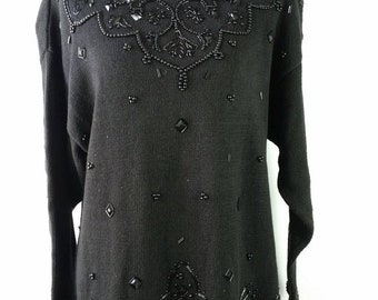35 OFF FALL SALE Vintage 1980s The Avenue Black Heavily Beaded Collar Tacky Rare Ugly Xmas Long Sleeve Sweater Sz 18 1X Plus Size
