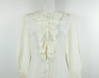 d93bb3023 40% OFF SHOP SALE Vintage Ann Taylor Loft Ivory Silk Blend Ruffle Lace  Lightweight Button Down Solid Long Sleeve Top Blouse Sz 10 Medium