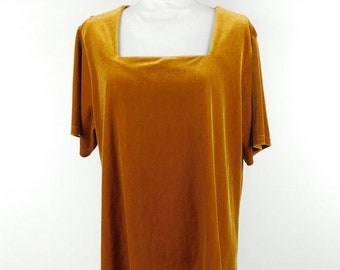 28593cbe6d455b 50% SUMMER SALE Vintage 1990S Ashley Stewart Dark Mustard Velvet Grunge  Square Neck Short Sleeve Top Shirt Blouse Sz 18/20 Plus Size