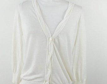8cc0b4f7201 40% OFF BLOWOUT SALE Vintage 1990s 90s Ann Taylor Loft Ivory Knitted 3 4  Sleeve Button Down Thin Sheer Sweater Top Cardigan Sz Medium