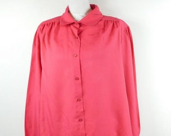 8eb38073b 40% OFF VDAY SALE Vintage 90s Rhapsody Hot Pink Fuchsia Button Down  Collared Long Sleeve Puff Shoulder Blouse Shirt Top Sz Xl Plus Size