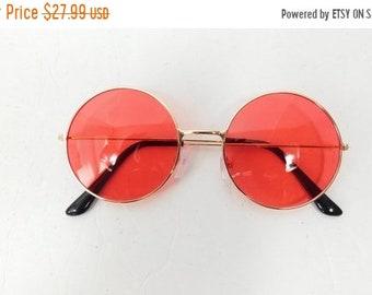 153b3fa777d 40% OFF SHOP SALE Vintage Red Gold Fashion Hippie Big Round Spectacle Sunglasses  Frame Lens Classic Standard Transparent Glasses Sunnies