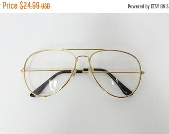 7a710cf7d71 40% OFF SHOP SALE Vintage Classic Standard Transparent Fashion Classic Big  Round Aviator Sunglasses Frame Gold Clear Lens Glasses Frame