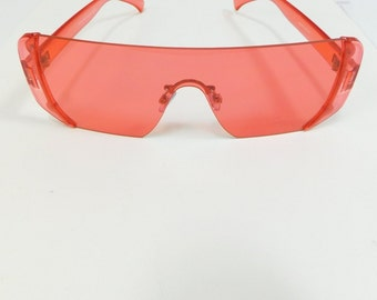 8854c6926357f 50% SUMMER SALE Vintage Red Tinted Big Square Classic Standard Transparent  Fashion Shape Sunglasses Large Frameless Lens Costume Glasses