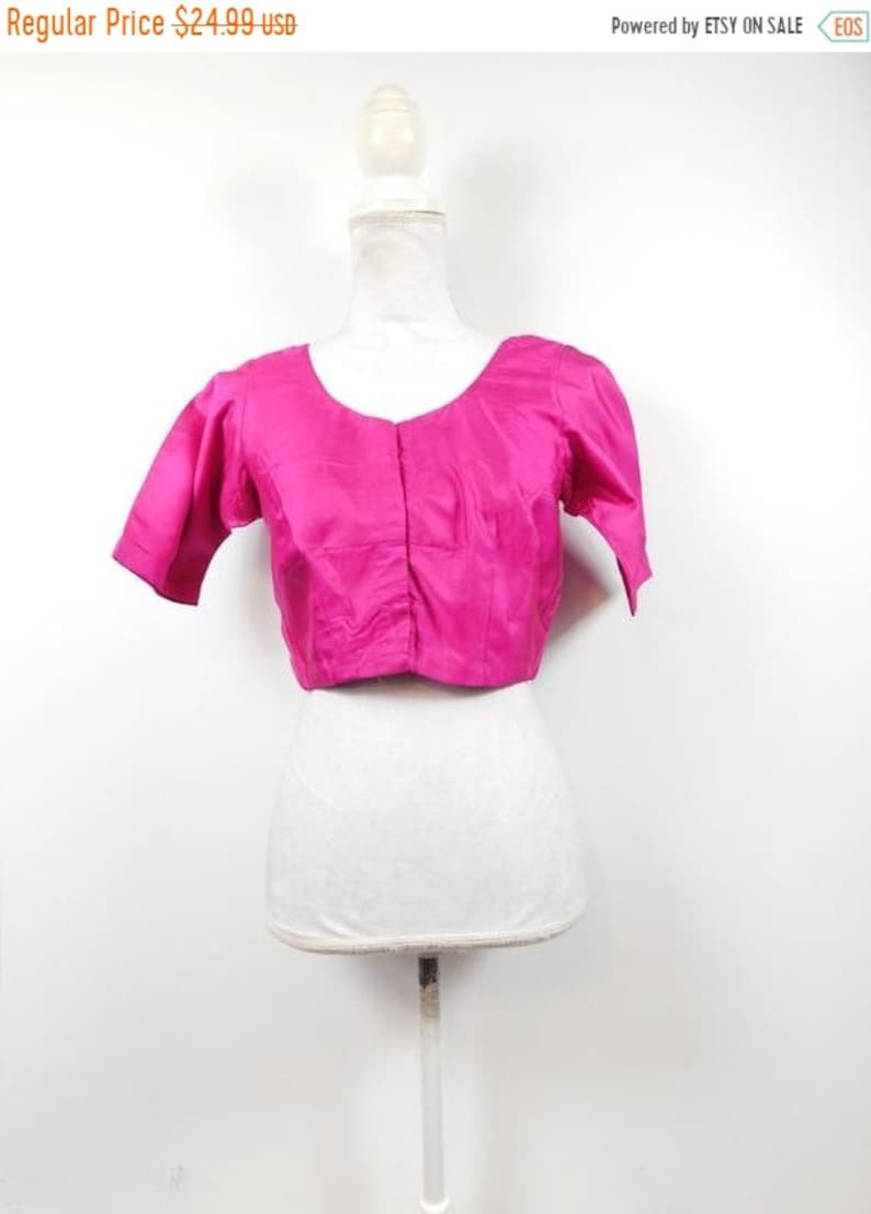 50% YAY 2020 SALE Vintage Indian Hot Pink Fuchsia Cropped image 0