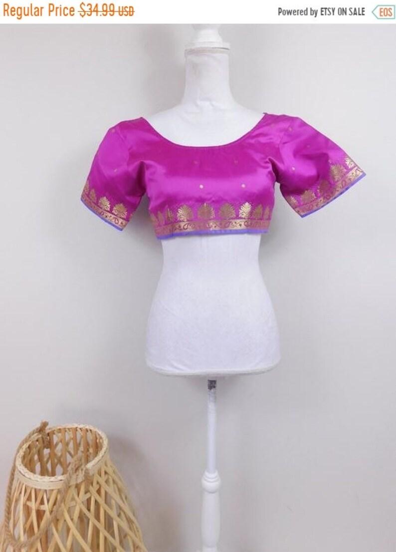 50/% OFF SPRING SALE Vintage 90s Indian Purple Gold Paisley Print Trim Satin Short Sleeve Scoop Neck Tie Up Crop Top Shirt Blouse Sz 36 Xxs