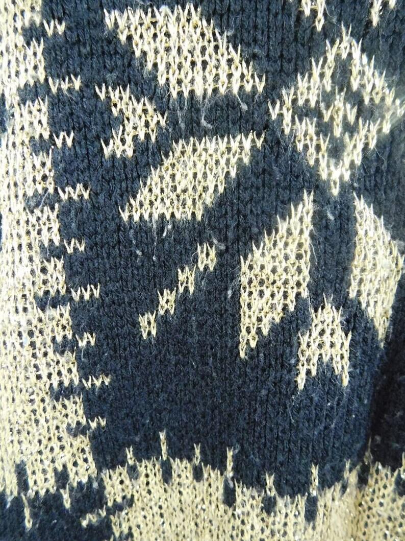 50/% SUMMER SALE Vintage JR Rappers 80s 1980s Black Gold Snowflake Print Abstract Metallic Crewneck Long Sleeve Sweater Sz 2X Plus Size