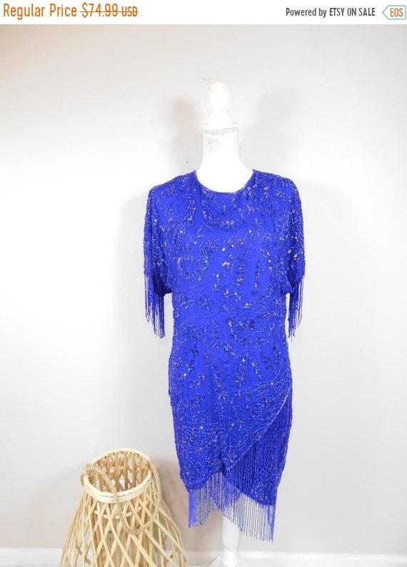 80s Dresses | Casual to Party Dresses 50 Off Spring Sale Vintage 1980S B2  Us Royal Cobalt Blue Sequin Beaded Fringe Hem Short Sleeve Knee Formal Cocktail Dress Gown Sz Large $26.99 AT vintagedancer.com