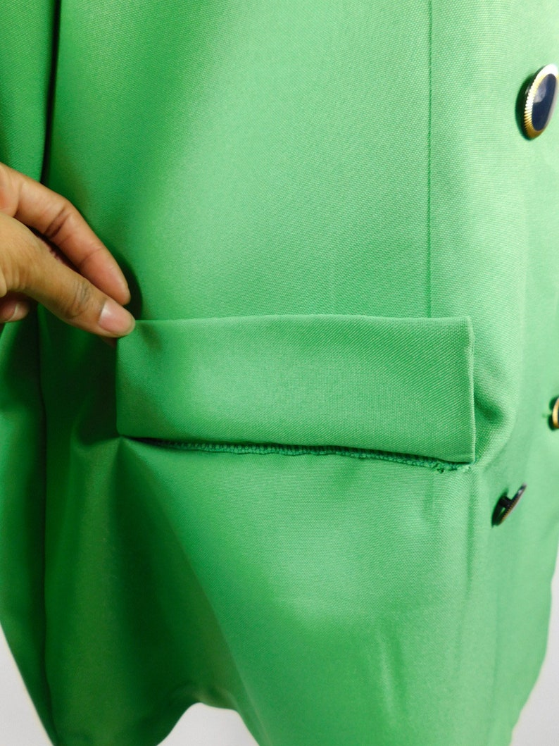 50/% SUMMER SALE Vintage 90s Kelly Green Navy Trim Gold Button Double Breasted Fresh Prince Long Sleeve Blazer Jacket Sz XL Plus Size