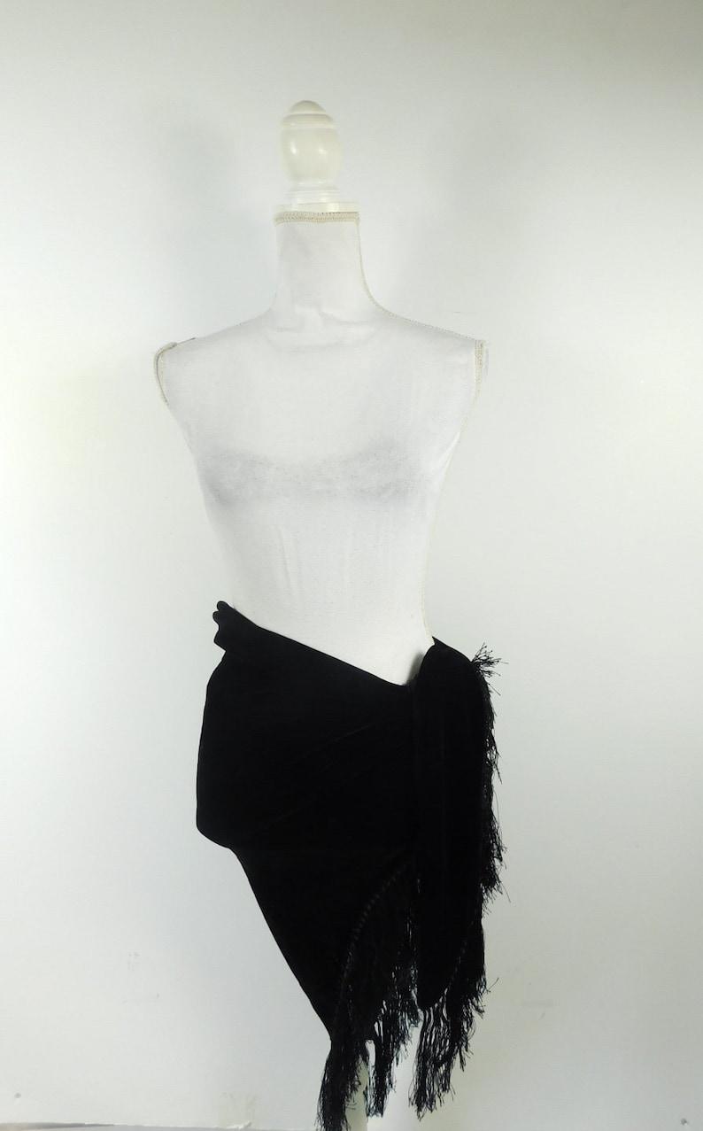 60/% BIG XMAS SALE Vintage 90s Large Black Velvet Fringe Trim Triangle Lightweight Long Swimwear Sarong Wrap Tie Scarf Fashion Accessory