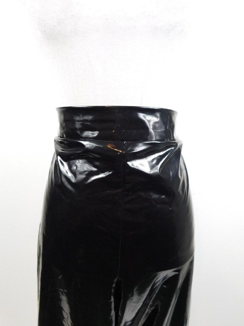 50/% SUMMER SALE Vintage Black Pvc Plastic Cybergoth Festival Rain Extravagant High Waist Wet Shiny Look Pants Leggings Sz 2X Plus Size