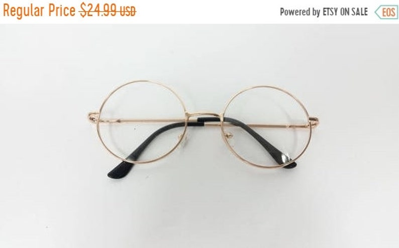 50% OFF BLOWOUT SALE Vintage Big Round Spectacle Gold Clear image 1