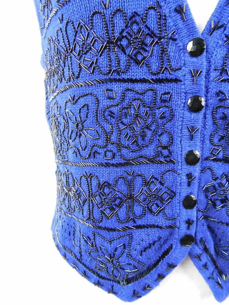 50% OFF FALL SALE Vintage Worthington Royal Blue Black Floral Flower Striped Print Beaded Button Down Knitted Waistcoat Sweater Vest Large