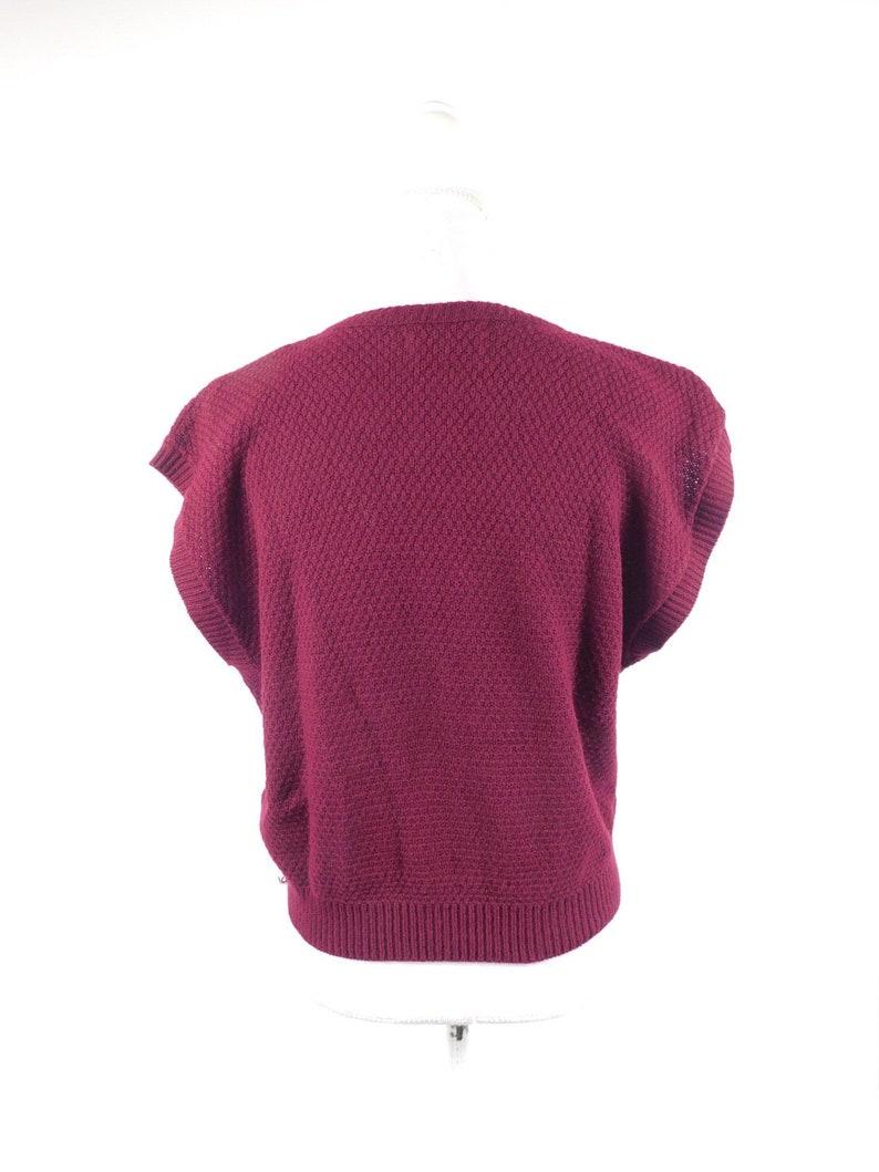 50/% SUMMER SALE Vintage 1980s Folio By Fire Islander Burgundy Maroon Horizontal Striped Crewneck Knitted Sweater Top Sz XL Plus Size
