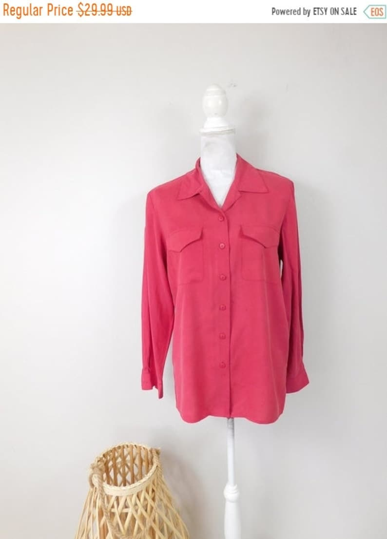 50/% SUMMER SALE Vintage 90s Anna and Frank Silk Red Button Down Pocket Collared Minimalist Long Sleeve Shirt Top Blouse Sz Medium