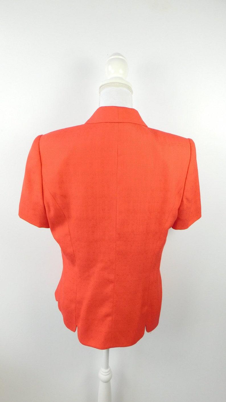 Solid Coral Pink Double Breasted\u00a0Minimal Short Sleeve Lined Blazer Jacket Coat Sz 12 Large 50/% SUMMER SALE Vintage 90s Pursuits Ltd