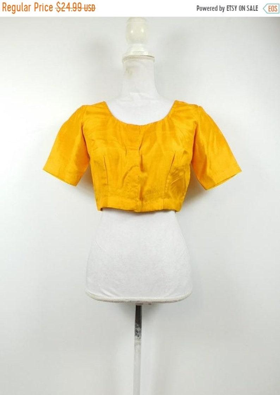 50% YAY 2020 SALE Vintage Indian Mustard Yellow Cropped Shiny image 0