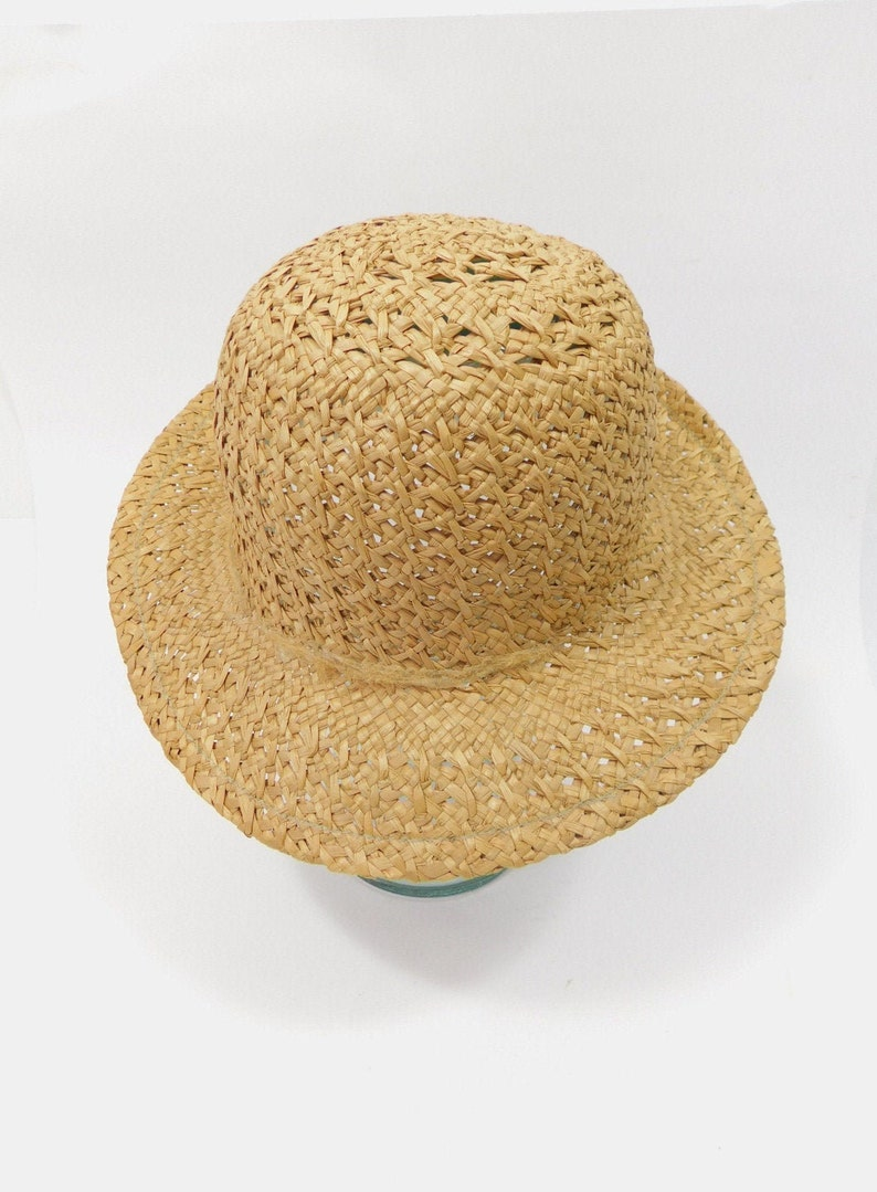 60/% BIG XMAS SALE Vintage 1980s Light Tan Brown Round Brim Straw Basket Weave Sun Garden Solid Hat Cap Minimal Fashion Accessory Sz 24