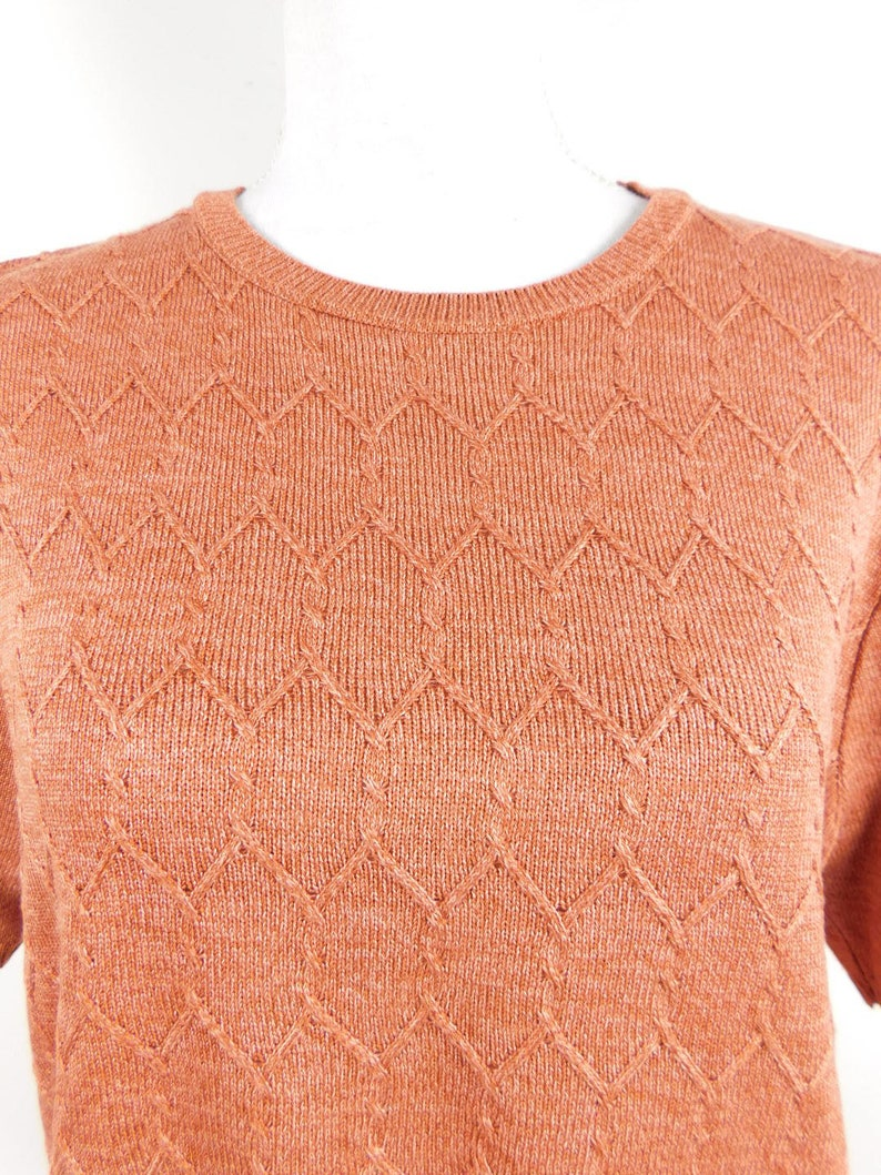 50/% SUMMER SALE Vintage 80s Alfred Dunner Mauve Pink Acrylic Knitted Oversized Lightweight Crewneck Short Sleeve Sweater Sz Large