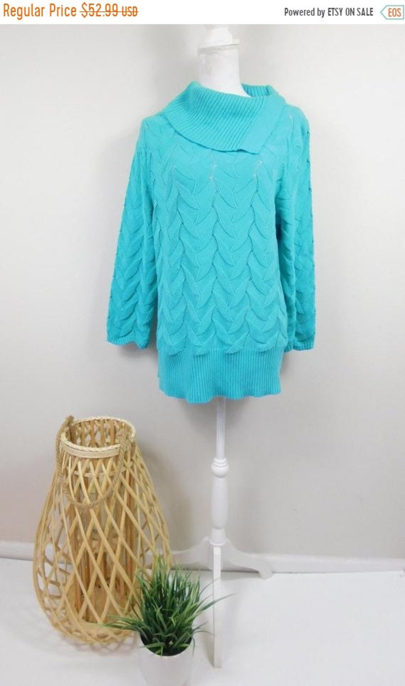 50% YAY 2020 SALE Vintage Kim Rogers Turquoise Textured Knit image 0