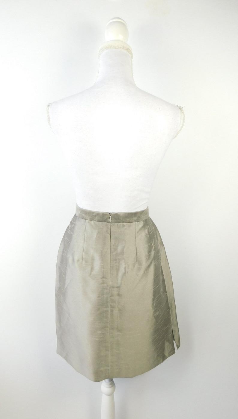 50/% OFF SPRING SALE Vintage 1990s Harve Benard Collection Silver Shiny Metallic High Waist Pencil Knee Length Formal Lined Skirt Sz Large