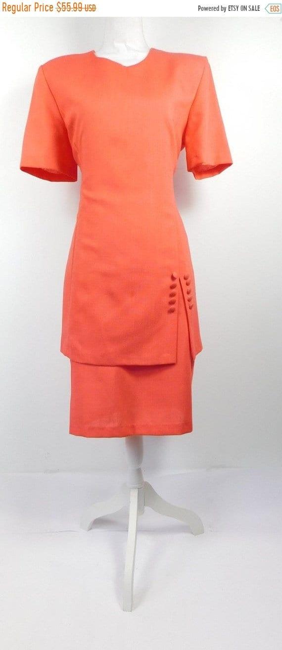 80s Dresses | Casual to Party Dresses 50 Off Spring Sale Vintage 1980S Ultra Dress New York Coral Orange Drop Waist Button Short Sleeve Midi Hourglass Suit Sz 12 Large $27.99 AT vintagedancer.com