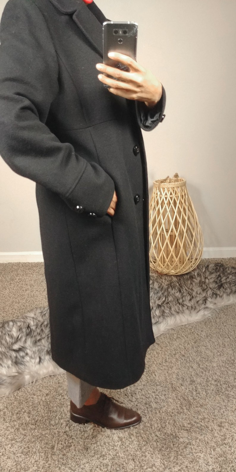 50/% OFF SPRING SALE Vintage 1980s Jones New York Black Wool Blend Button Down Collared Trench Minimal Long Sleeve Midi Jacket Coat Medium