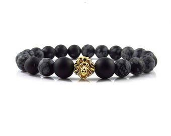 18kt. Gold Plated Lion bracelet,jewellery,Beaded bracelets,Healing bracelet,Gemstone bracelet,Beaded jewelry,Stone bracelet,Bracelets for