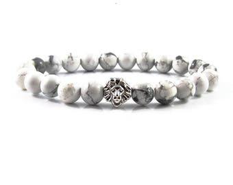18kt. White Gold Plated Lion bracelet,jewellery,Beaded bracelets,Healing bracelet,Gemstone bracelet,Beaded jewelry,Stone bracelet