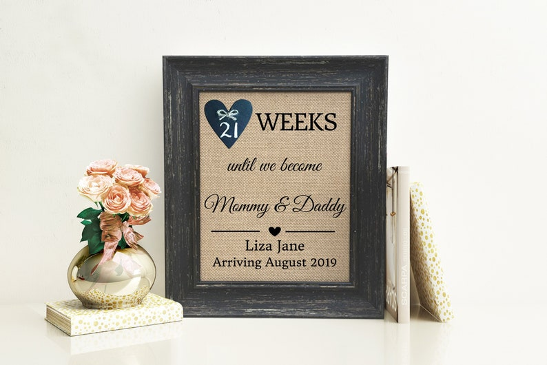 Personalized Baby Shower Gift Pregnancy Announcement Reveal Weeks Until New Mommy Daddy Baby Boy Girl Personalized Picture Frame On Sale