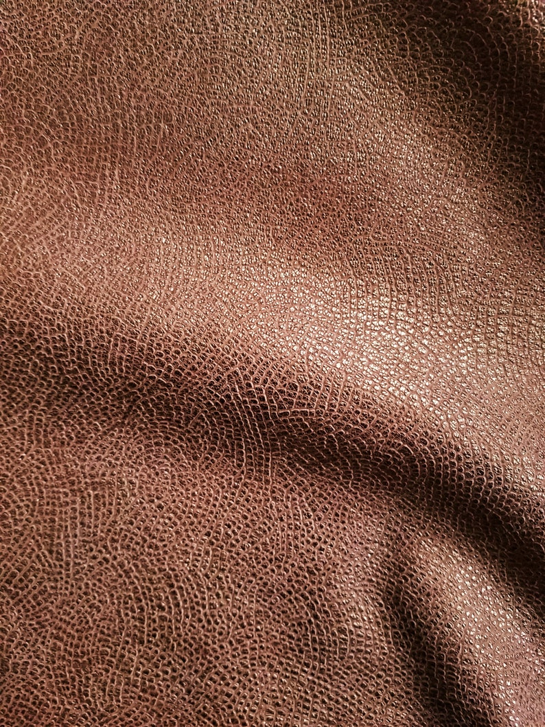 Leather Fabric Leather Sheets NEW Leather Gorgeous Dull Metallic Copper Brown Patterned Leather Hide