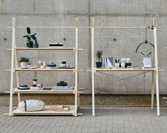 PACKAGE: Wooden shelf VS-01 + counter VC-01 + Free stool