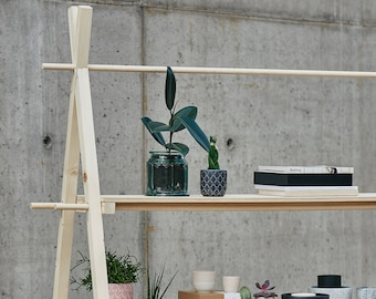 Shelving unit VS-02 | artisan raw wood & plywood eco shop fair display | wooden retail display portable foldable easy to carry