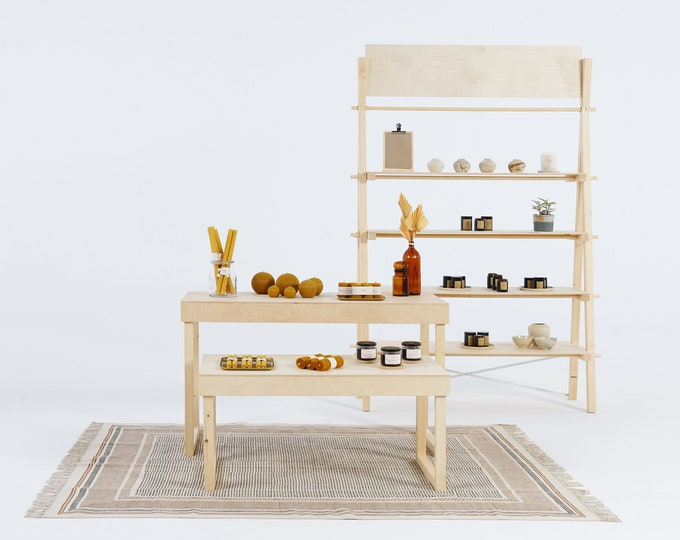 SET: Vendor pop up set with 2 tables and 1 or 2 shelving units