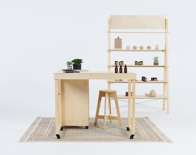 Set: Portable counter VC-06W with storage, table VC-04W on wheels, shelving VS-03 + free bar stool. Vendor booth display. Milimetry